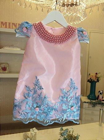 Vestido Trapezio Rosa com Azul Luxo  - Infantil