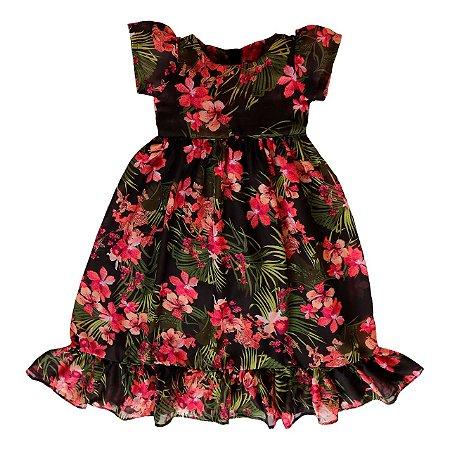 Vestido Floral Preto Dia Dia - Vestido Infantil