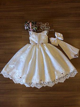 Vestido Daminha Renda Branca- Dama de Honra