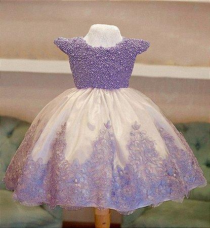 Vestido Lilas com branco - Infantil