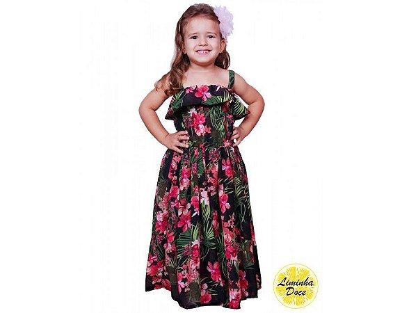 Vestido infantil longo floral preto - Promoçao dia das crianças