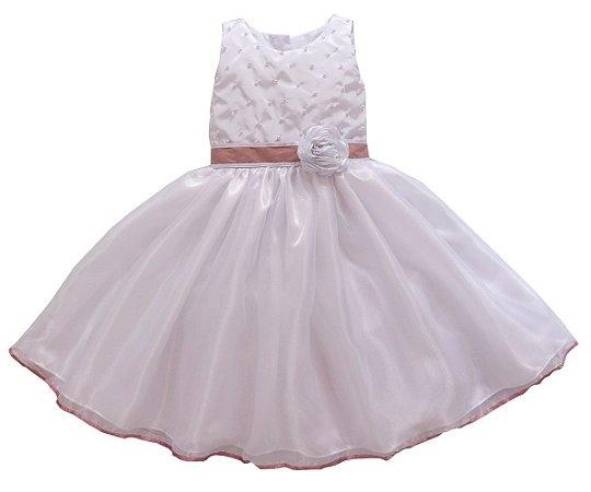 Vestido Branco com Rose - Dama de Honra