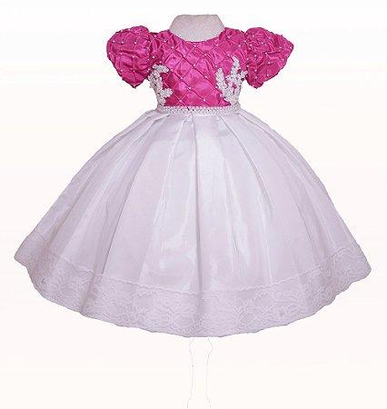 Vestido Festa Pink Com Branco - Vestido Formatura ABC