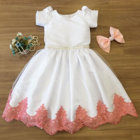 Vestido Branco com Salmão -Daminha de Honra