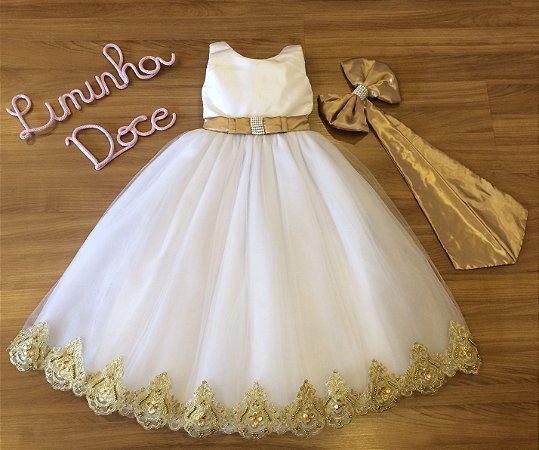 Vestido Branco com Dourado - Damas de Honra
