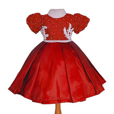Vestido de Festa Vermelho com Branco  - Vestido de  Festa
