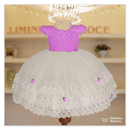 Vestido de Festa Lilas Com Branco - Vestido de  Festa