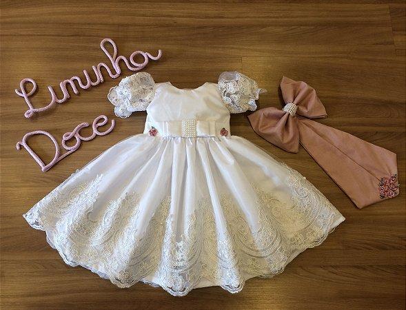 Vestido Para Daminha Branco Com Rose - Daminha de Honra