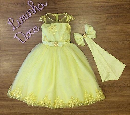 Vestido de Festa Amarelo Luxo - Vestido de Festa