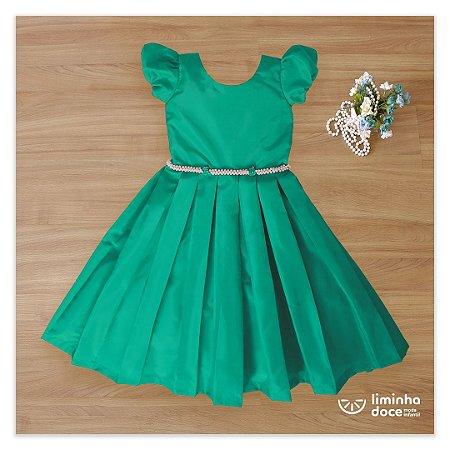Vestido para daminha tafeta  verde  -Daminhas de Honra