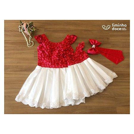 Vestido Vermelho Com Branco Tema Jardim - Mãe e Filha