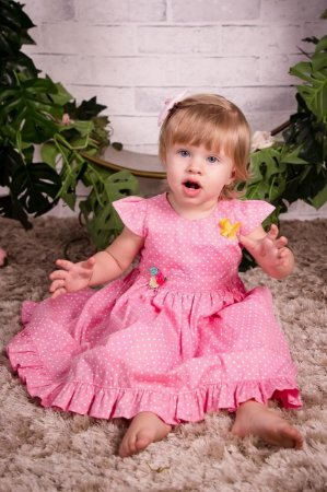Vestido Rosa de Poa - Vestido infantil