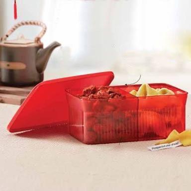 Porta Petiscos Com Divisória Vermelho Policarbonato 1,75 Litro (Snack It) - Tupperware