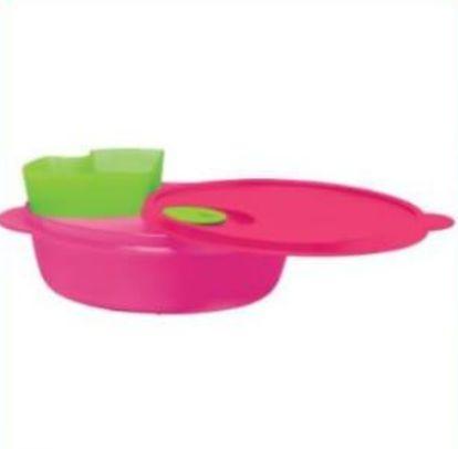 Cristalwave com Divisórias e Bandeja Removível Rosa e Verde 900ml - Tupperware