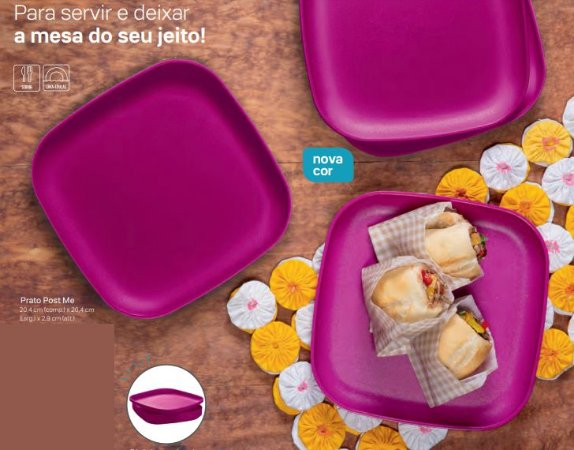 Prato Post me Pink 4 unidades  - Tupperware
