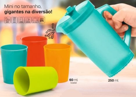 Kit Infantil Mini A Jarra 250 ml + 4 Mini Copinhos 60 ml cada 5 peças - Tupperware
