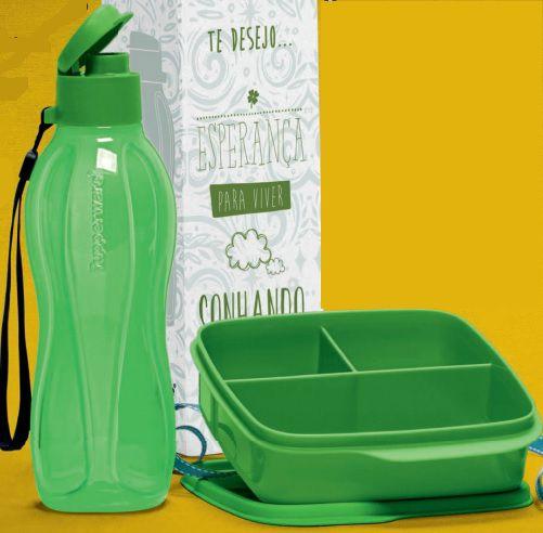 Basic Line com Divisórias Verde 550ml + Eco Tupper Garrafa Plus Verde 500ml