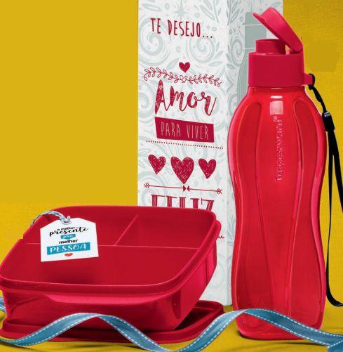 Basic Line com Divisórias Vermelho 550ml + Eco Tupper Garrafa Vermelho 500ml