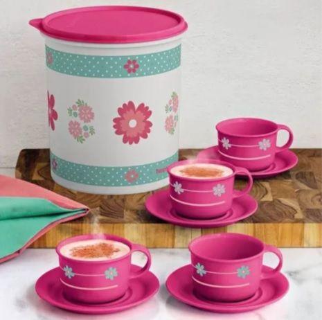 Xícaras Café Provençal 150ml 4 peças + Tupper Caixa Provençal 3,7 litros - Tupperware