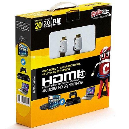 Cabos HDMI 2.0 FLAT Desmontável,19 Pinos, 4K, Ultra HD, 3D - 20 metros