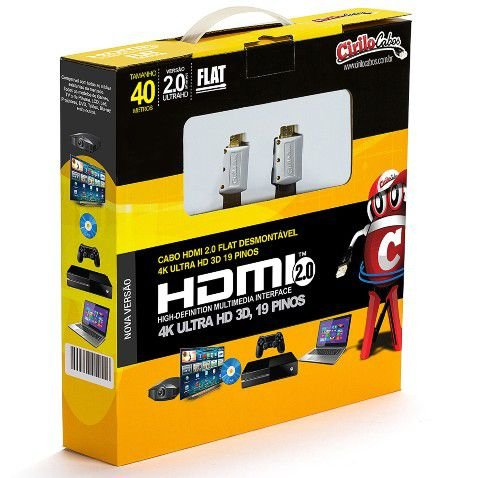 Cabo HDMI 2.0 Flat Desmontável - 19 Pinos, 4K, Ultra HD, 3D - 40 Metros - Cirilo Cabos