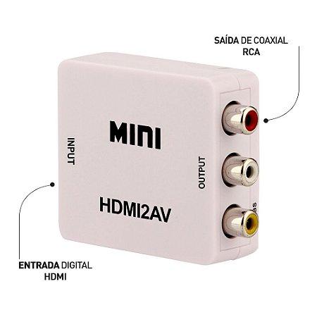 Mini Adaptador Conversor HDMI para Vídeo Composto (RCA)
