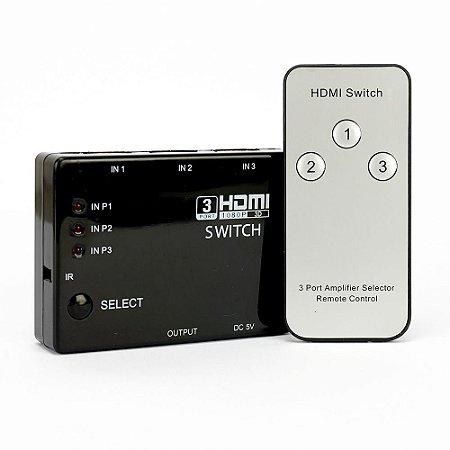 SWITCH 3X1 HDMI FULL HD 1080P 3D COM CONTROLE