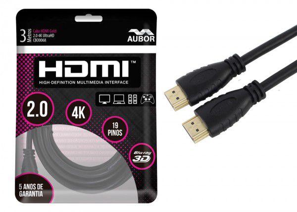 Cabo HDMI 2.0 - 4K, Ultra HD, 3D, 19 Pinos - 3 metros