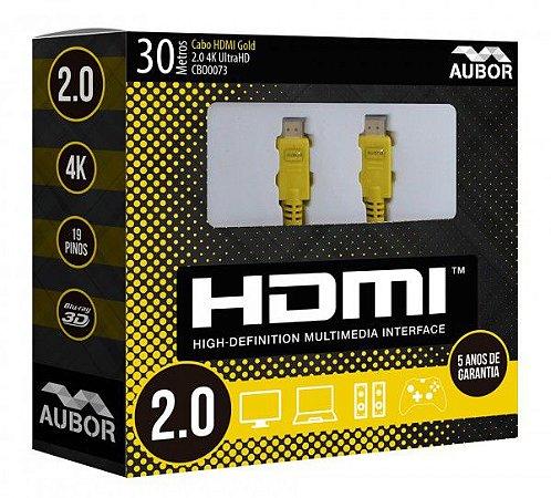 Cabo HDMI 2.0 - 4K, Ultra HD, 3D, 19 Pinos - 30 metros - Aubor
