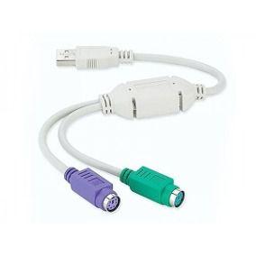 Cabo Adaptador  USB 2 Portas Conversor Teclado e Mouse - Feasso