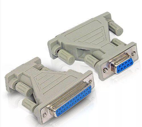 Adaptador DB9 Fêmea para DB25 Fêmea para cabo serial