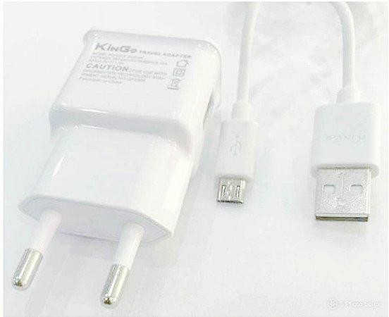 Kit Carregador de Tomada 2 Amperes + Cabo de dados Micro USB-V8-Android - kingo