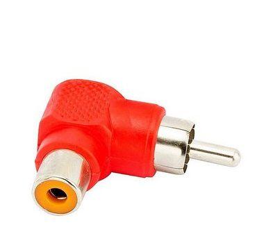 Adaptador RCA 90 graus Branco/Vermelho