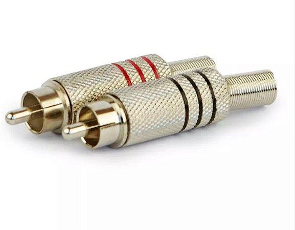Plug RCA Niquelado 6mm - para cabos de 6 milímetros.