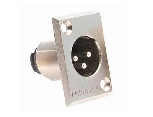 Conector XLR Macho Painel, AC3MMP, Metal, Amphenol
