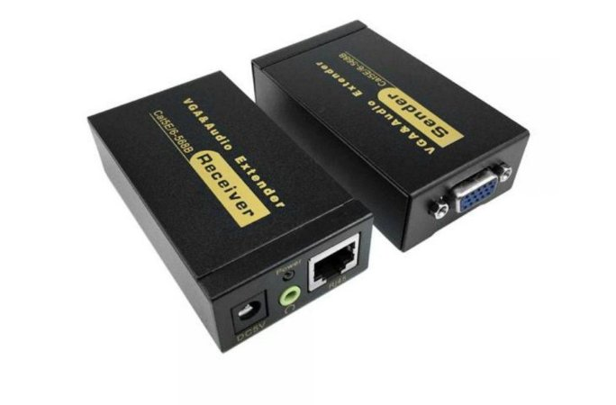 Extender VGA+Áudio Via Cabo De Rede Cat5e/6 -Extensor Até 100 Metros