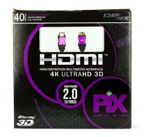 Cabo HDMI 2.0 - 4K, Ultra HD, 3D, 19 Pinos - 40 metros - Pix