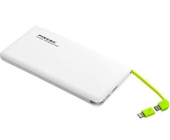 Carregador Portátil Power Bank Pineng 5000mah Slim  - Branco