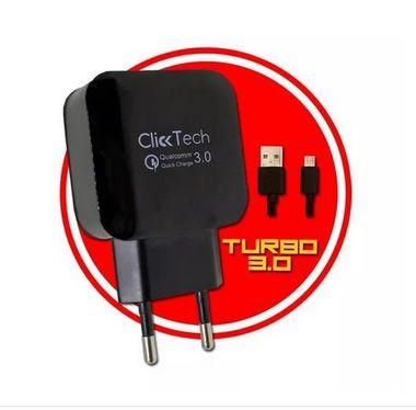 Carregador TURBO Ultra Rápido + Cabo Flat Micro USB 3.0 - CLICK TECK
