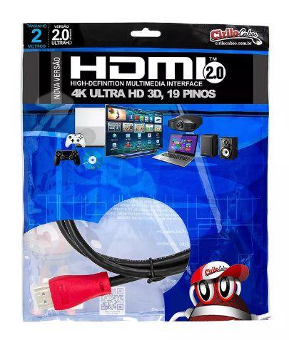 Cabo HDMI 2.0 Premium ULTRA HD 4K@50/60 3D - Cirilo Cabos - 2 METROS