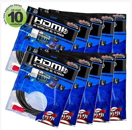 KIT Com 10 Cabos HDMI 2.0 PREMIUM ULTRA HD 4K, Cirilo Cabos - 2M