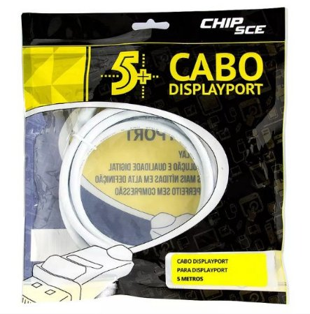 Cabo Displayport para Displayport, ChipSce - 5 Metros