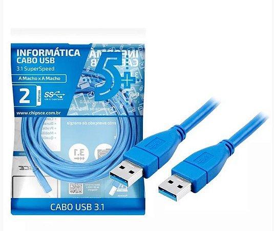 Cabo Usb 3.1, 5+ Chipsce A Macho X A Macho -Superspeed -2 Metros - Azul