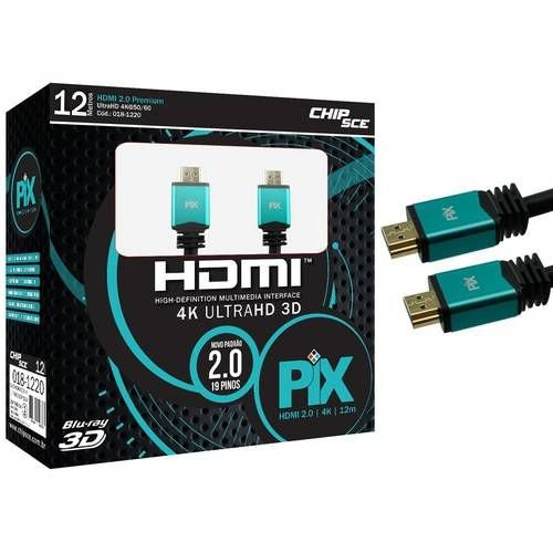Cabo HDMI 2.0 Pix - Ultra HD, 4K, 3D - 12 Metros - ChiSce
