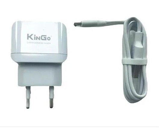 Carregador + Cabo de Celular Original Kingo 2,4A Branco - Micro USB