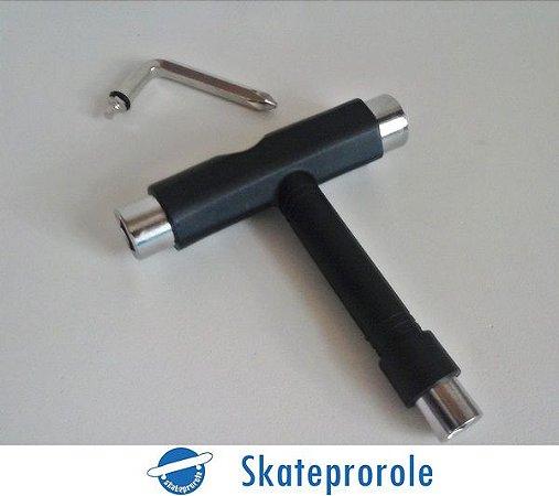 Chave de skate 3 em 1 cor preta - parafusos 10,13 e 14 + Chave allen e philips