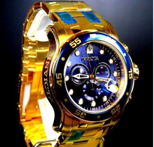 7fff98224fb Invicta Pro Diver Scuba Banhado A Ouro 18kt Azul Aço Cronógrafo 0073 ...