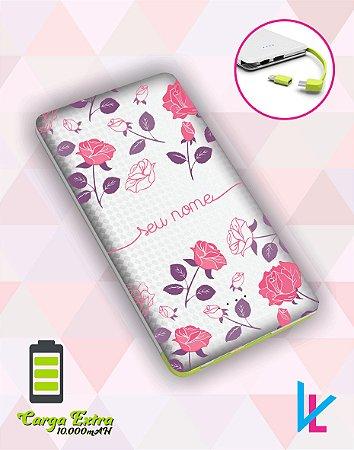 Carregador Portátil - Flores rosas e roxas com nome