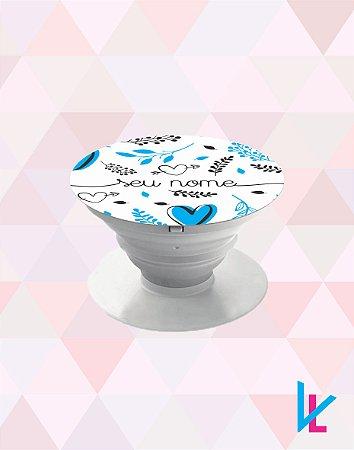 Pop Socket - Coração azul e flores com nome