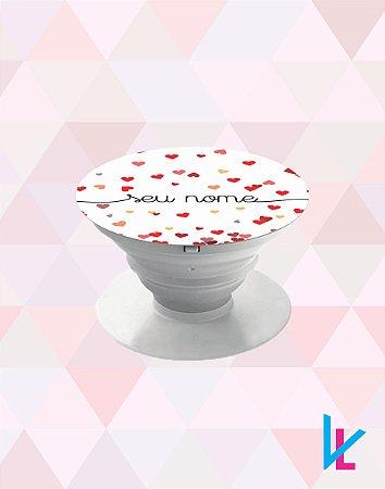 Pop Socket - Chuva de corações vermelho com nome